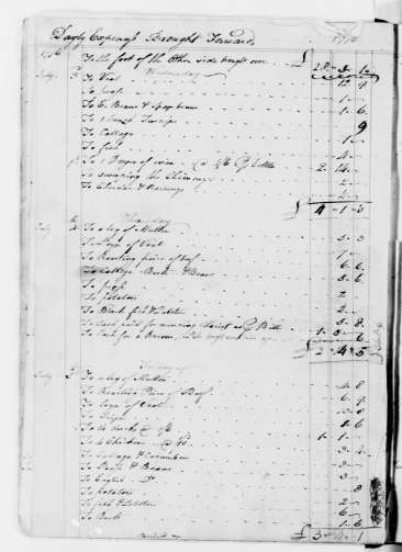 Library of Congress records of George Washington's expenses on July 4, 1776.